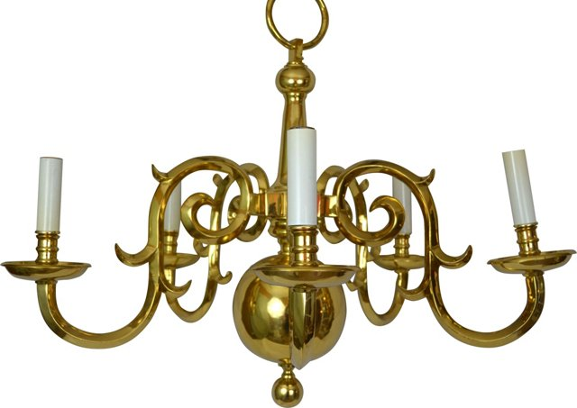 5-Arm French-Style Brass Chandelier