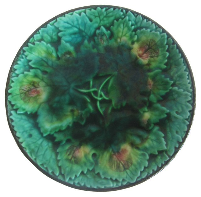 German Majolica Leaves Wall Plate