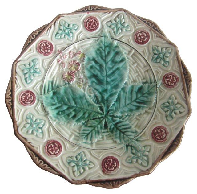 Majolica Chestnut & Leaves Wall Plate