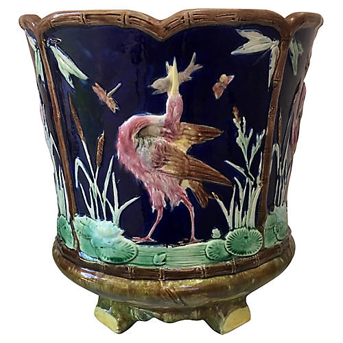Large English Majolica Birds Jardiniere