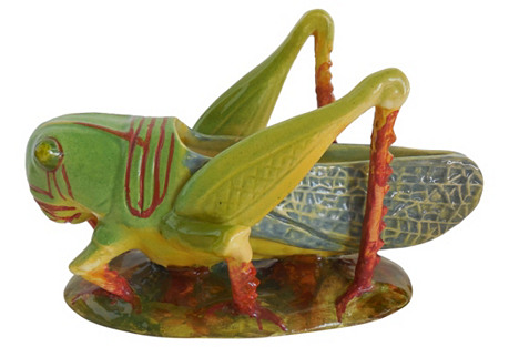 Majolica Grasshopper Jardinière