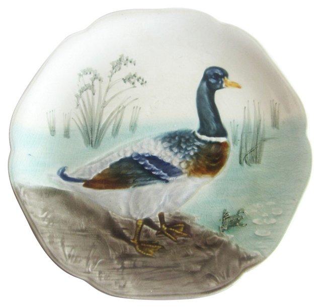 Majolica Duck Wall Plate
