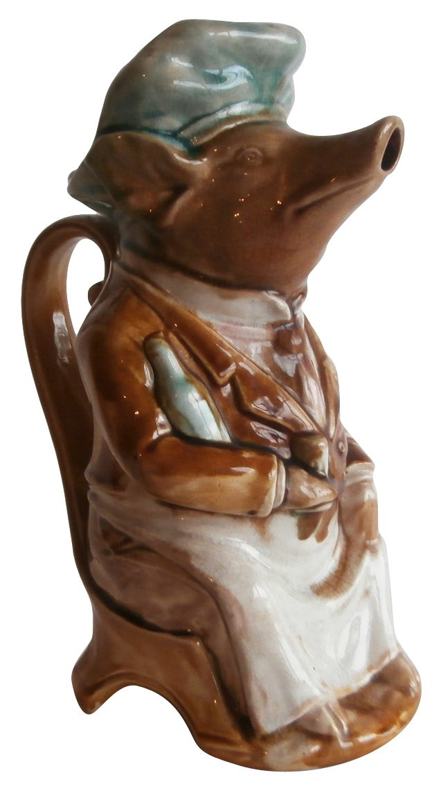 Majolica Pig Waiter  Pitcher