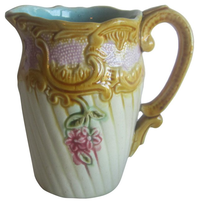 Majolica Flowers  Pitcher