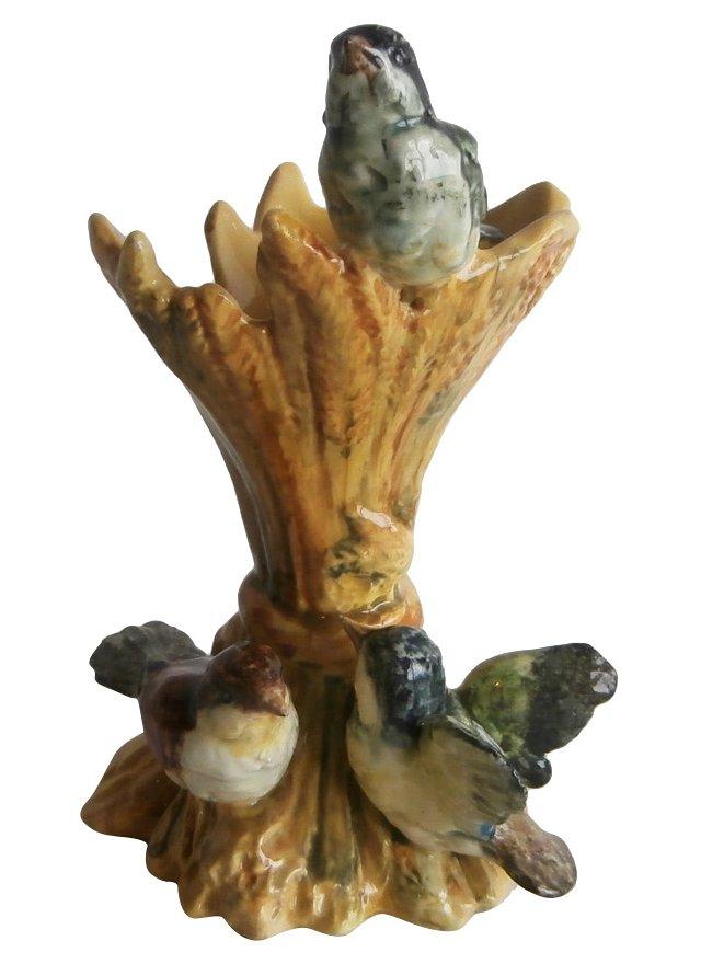 Majolica Birds Wheat Vase