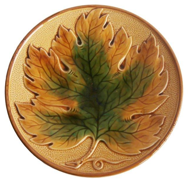 Majolica Leaf  Wall Plate