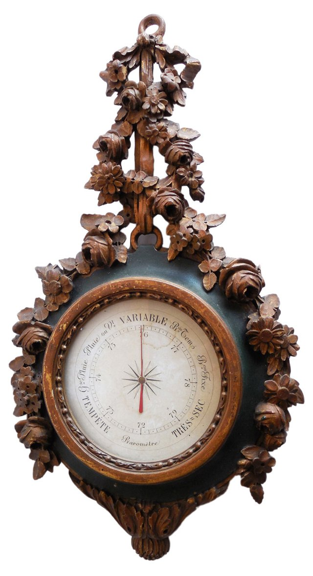 Antique French Wood Barometer
