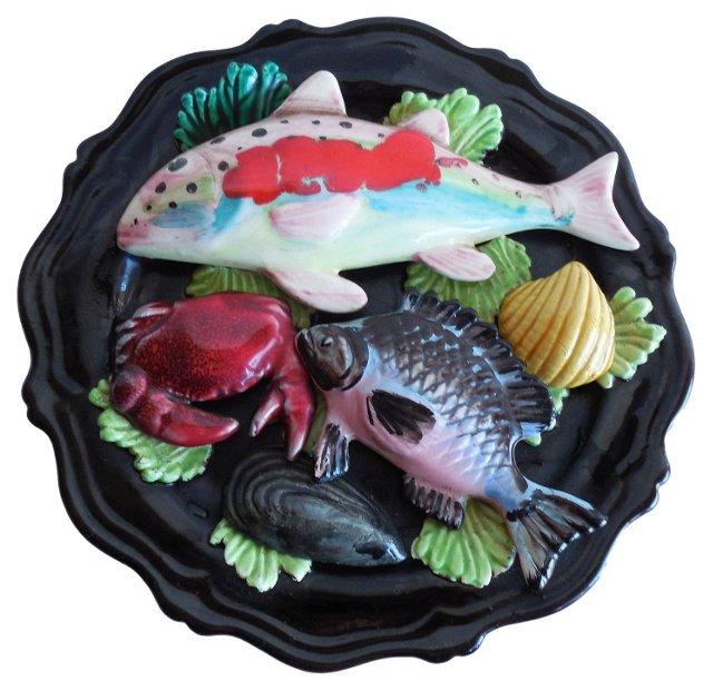 Majolica Fish & Crab Wall  Platter