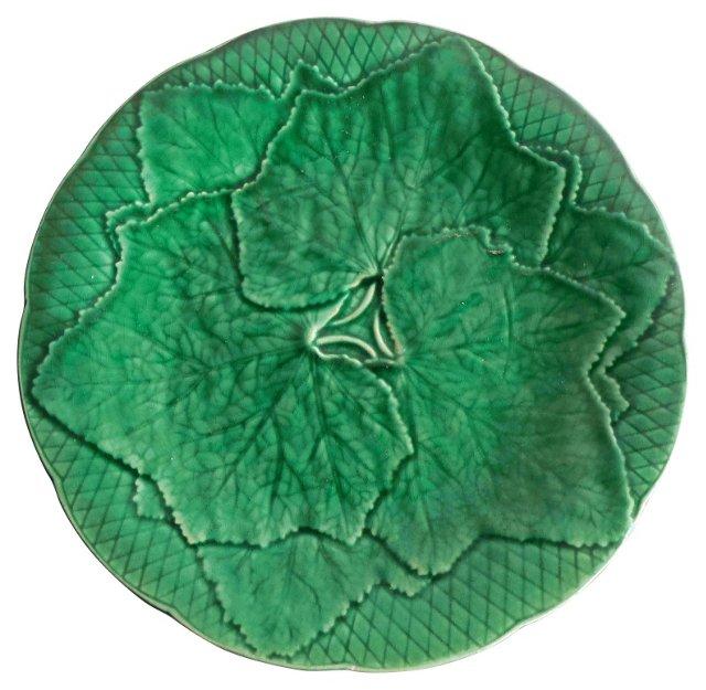 Green Majolica Leaves   Wall Plate