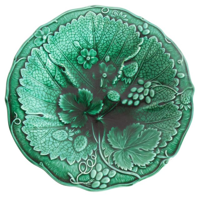 Green  Majolica Strawberry Wall Plate