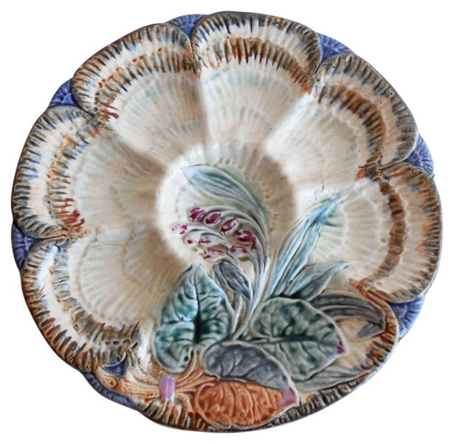 Majolica Flowers Oyster Wall Plate