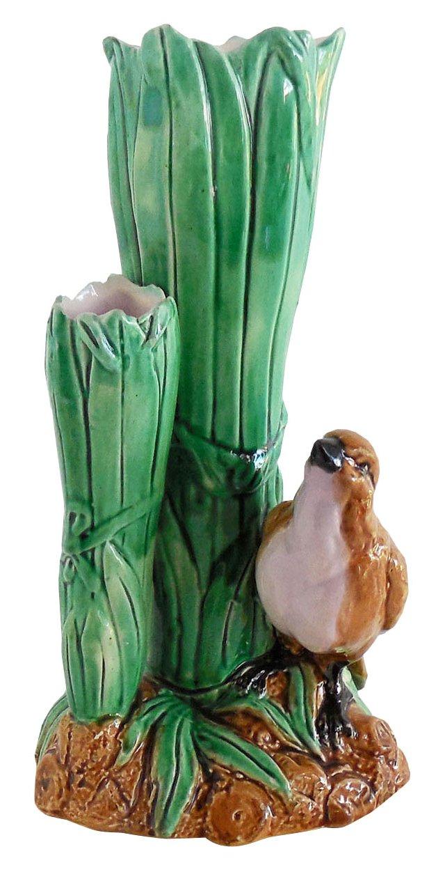 Majolica Bird Vase