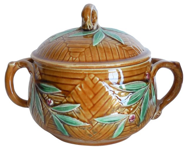Majolica  Leaves Sugar Bowl