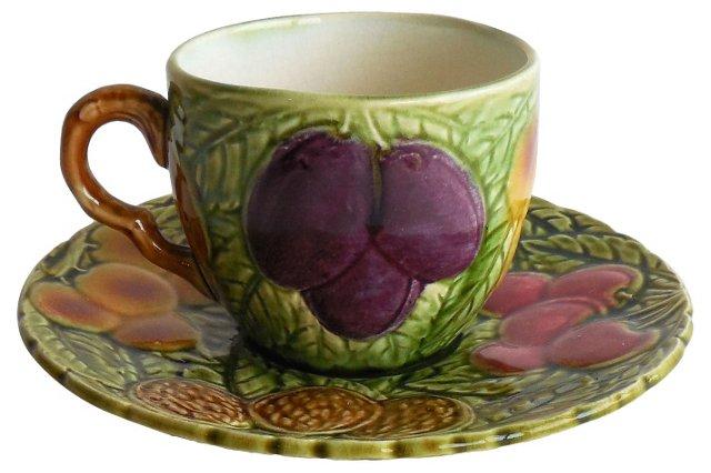 Majolica Fruits Cup & Saucer