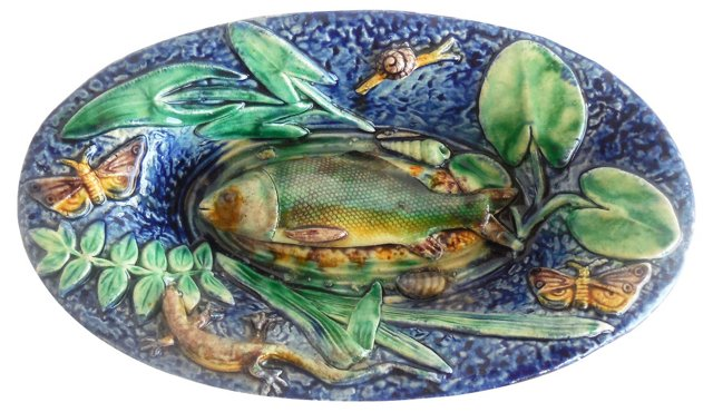 Majolica Palissy Fish Wall Platter
