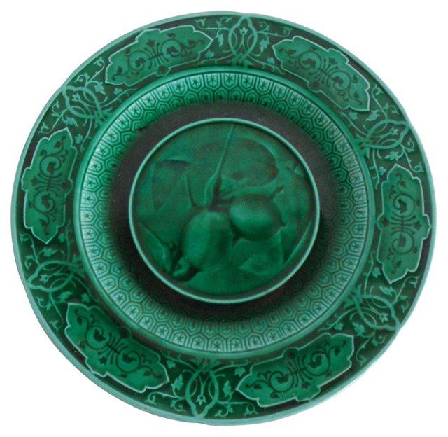 Green Majolica Medlar Wall Plate