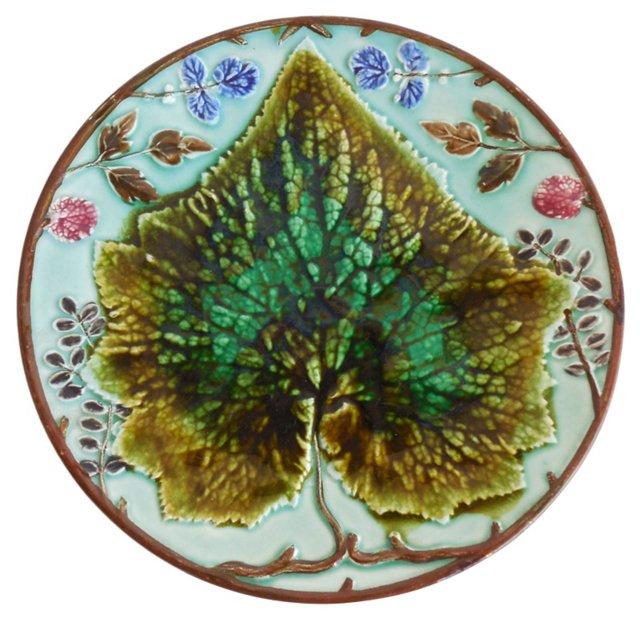 Majolica Leaf & Flowers  Wall Plate