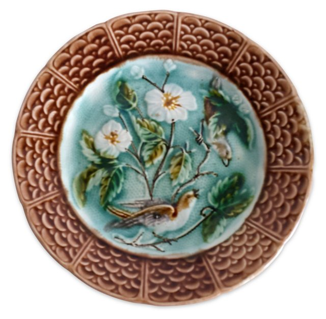 Majolica Bird & White Flowers Wall Plate