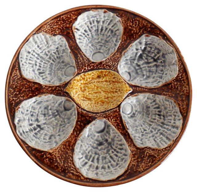 Majolica Lemon  Oyster Wall  Plate