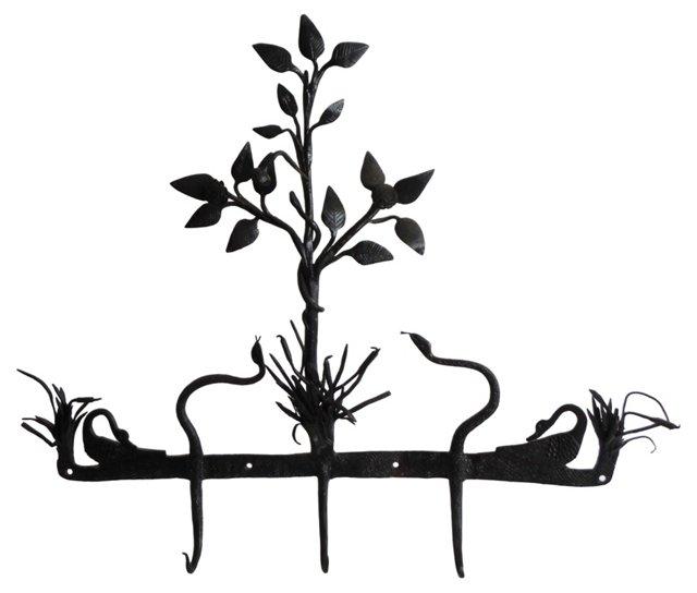 19th-C. Snake & Swan Iron Garden Rack