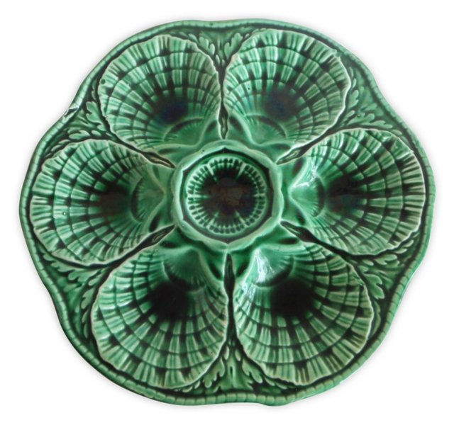 Green Majolica Oyster Wall    Plate