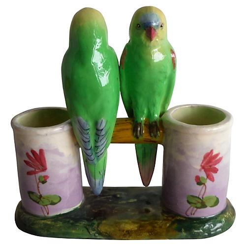 Majolica Lovebirds Double Vase