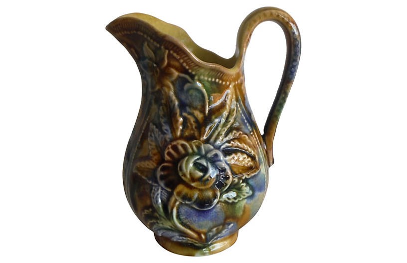 19th-C. English Majolica Rose Pitcher