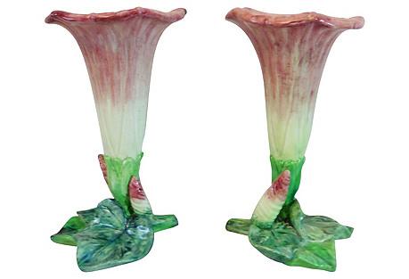Majolica Morning Glory Vases, Pair