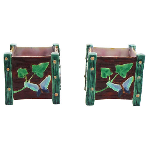 Majolica Butterfly & Snail Pots, Pair
