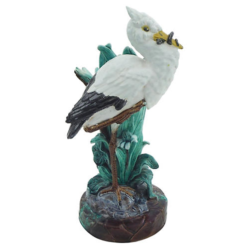 19th Majolica Stork Vase Holdcroft