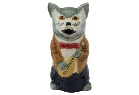 19th Majolica   Cat     Pitcher
