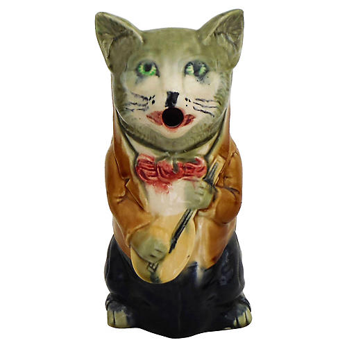 19th Majolica Cat Pitcher