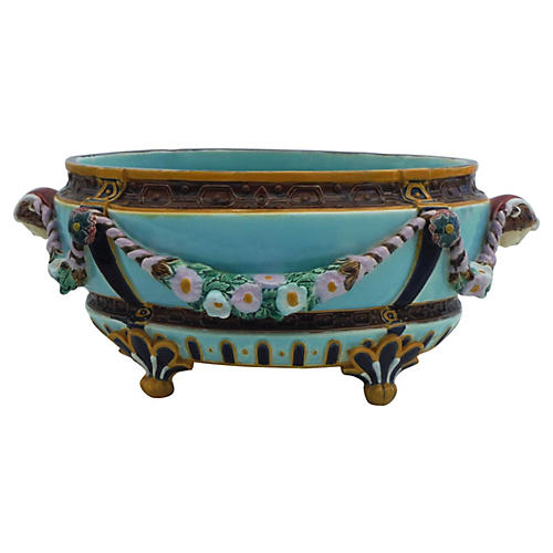 Large English Majolica Aqua Jardinière