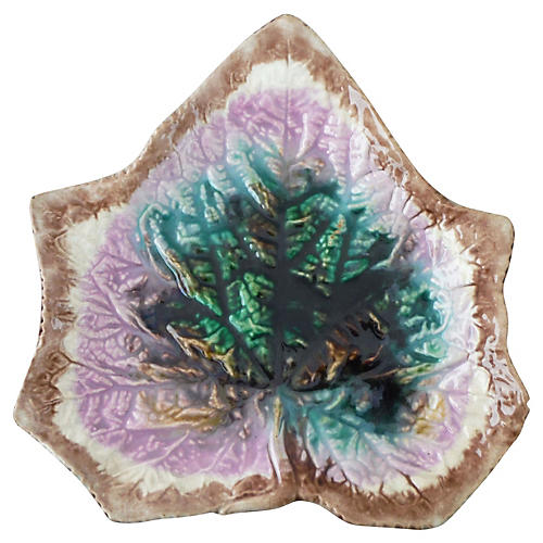 English Majolica Leaf Wall Plate