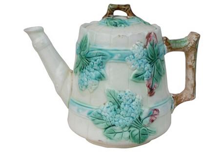 19th English Majolica Lilac Teapot
