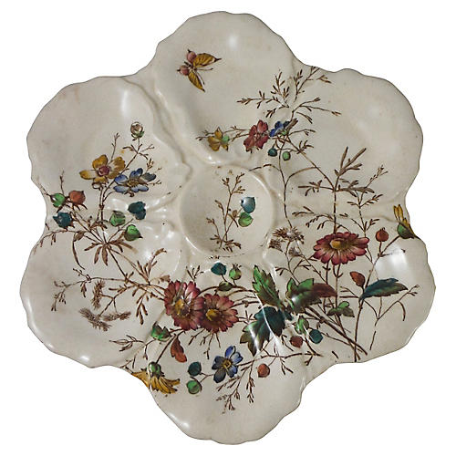 English Floral Oyster Wall Plate