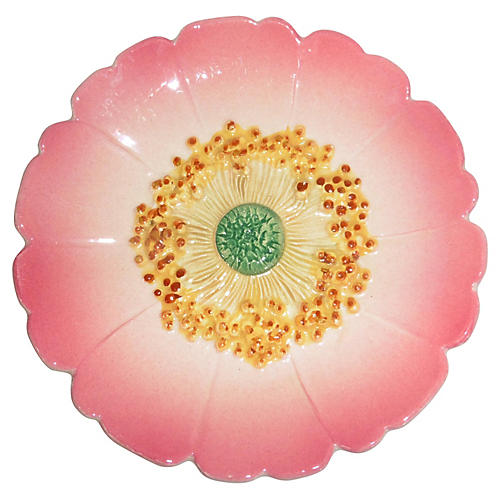 Majolica Wild Rose Wall Plate