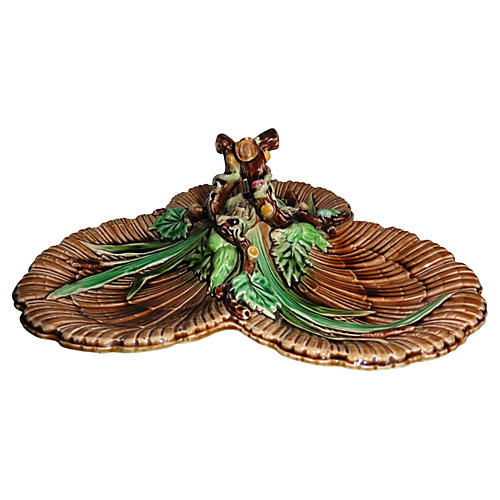 Majolica Hazelnut Server