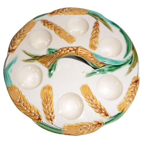 Majolica Wheat Egg Server