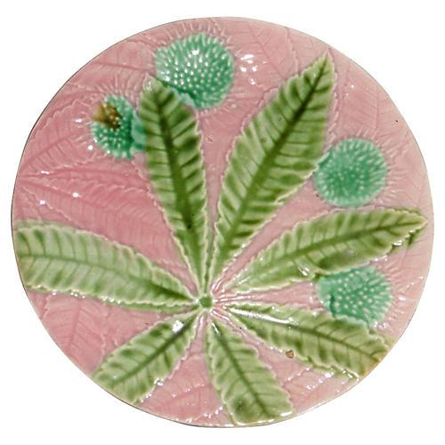 Majolica Chestnut Leaf Wall Plate
