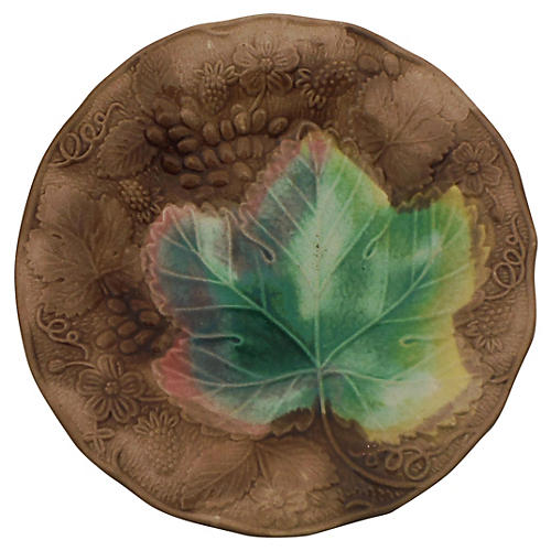 Majolica Grape & Leaves Wall Plate