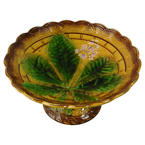Majolica Chestnut Leaves Compote