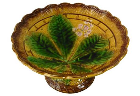 Majolica Chestnut Leaves Compote