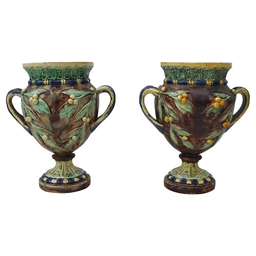 Majolica Mistletoe Vases, Pair