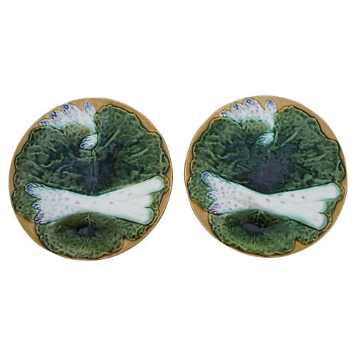 Majolica Asparagus Plates, Pair