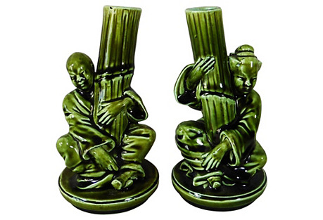 French Majolica Chinese-Style Vase, Pair