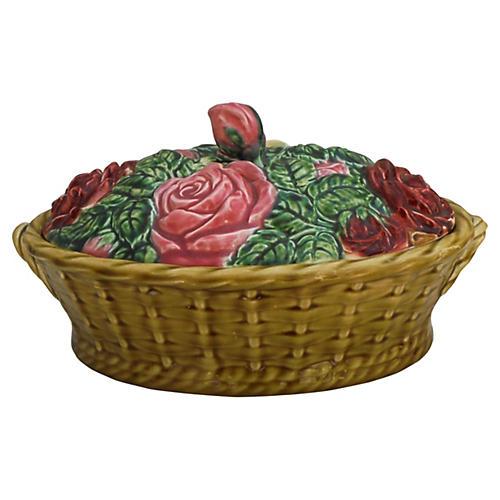Majolica Roses Basket