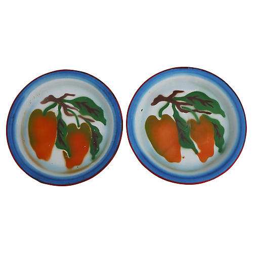Tole Peppers Plate, Pair