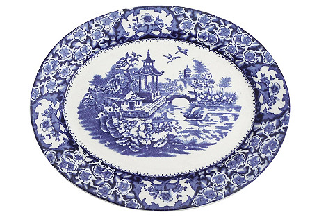 English Blue & White Chinoiserie Platter