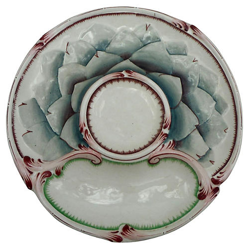 19th-C. Majolica Artichoke Wall Plate